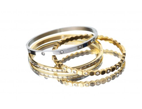 BEE, BAGUETTES GOLD & VIENA SILVER